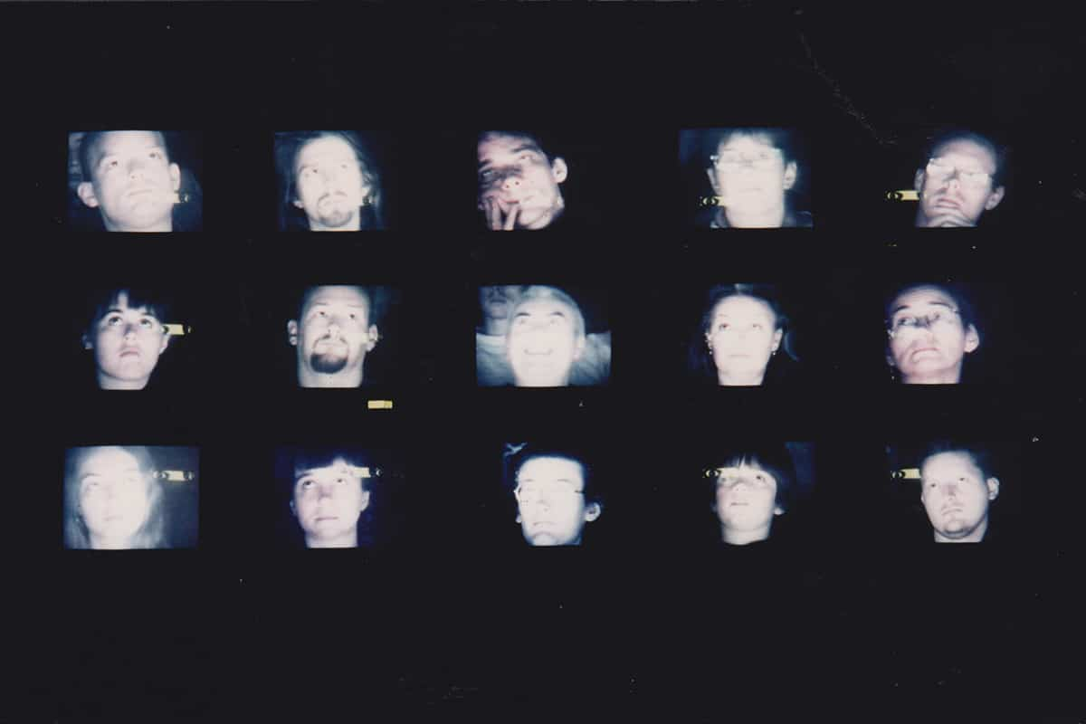 Here's looking at you 15-monitor video installation