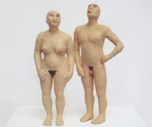 Man and Woman painted bronze figures